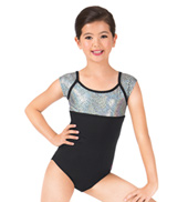 Girls Mosaic Glitter Short Sleeve Leotard