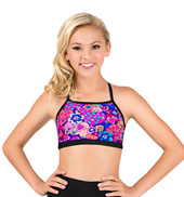 Girls Hearts Print Strappy Back Camisole Bra Top