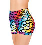Girls Rainbow Heart Banded Leg Dance Shorts