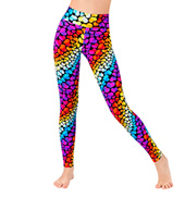 Girls Rainbow Hearts Printed Legging
