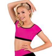 Girls Color Block Cap Sleeve Crop Top