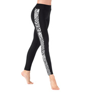 Adult White Leopard Insert Side Stripe Ankle Leggings