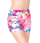 Girls Digital Floral Banded Leg Printed Dance Shorts