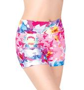 Girls Digital Floral Banded Leg Printed Dance Shorts