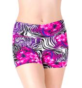 Girls Floral Zebra Banded Leg Printed Dance Shorts