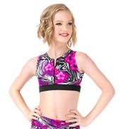 Girls Floral Zebra Printed Zip Front Tank Crop Top