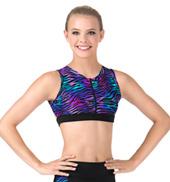 Girls Rainbow Zebra Printed Zip Front Tank Crop Top