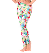Girls Rainbow Floral Printed Ankle Leggings