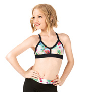 Girls Multi Floral Two-Tone Camisole Bra Top