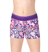 Girls Stripe/Rainbow Butterfly Printed Dance Shorts