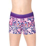 Girls Stripe/Rainbow Butterfly Printed Dance Shorts