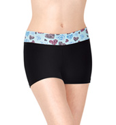 Girls Heart Print Waistband Dance Shorts