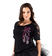 Ballet Slipper Lace Back Short Sleeve Tee