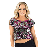 Adult Sequin Crop Short Sleeve Top