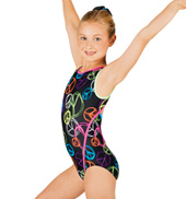 Child Gymnastic Neon Peace Tank Leotard