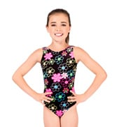 Child Flower Peace Velvet Gymnastic Tank Leotard