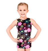 Child Flower Peace Velvet Gymnastic Biketard