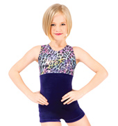 Child Rainbow Cheetah Metallic Gymnastic Biketard