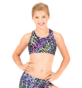 Child Rainbow Cheetah Metallic Racer Back Bra Top