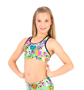Child Hearts & Stars Mesh Back Gymnastic Bra Top