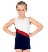 Child Velvet Tank Biketard with Metallic Sash Insert