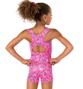 Girls Foil Heart Tank Biketard