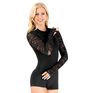 Sequin Lace Long Sleeve Shorty Unitard