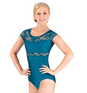 Adult Lace Insert Short Sleeve Leotard