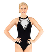 Adult High Neck Halter Leotard with Flocked Mesh