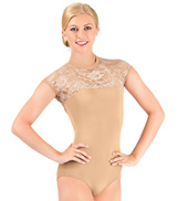 Adult Sequin Lace Short Sleeve Leotard