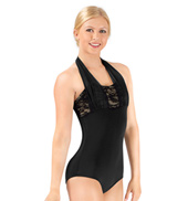 Adult Sequin Lace Double Halter Leotard