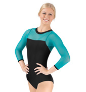 Adult Mesh 3/4 Sleeve Leotard with Black Body