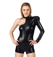 Adult/Girls Asymmetrical Puff Sleeve Shorty Unitard