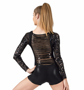 Adult Sequin Fringe Back Long Sleeve Shorty Unitard