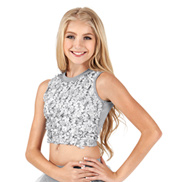 Girls Rose Petal Mock Neck Tank Crop Top