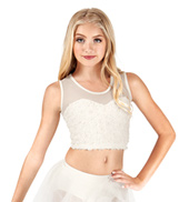 Girls Rose Petal Mesh Tank Crop Top