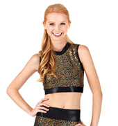 Adult Sequin Mock Neck Crop Top