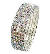 5-Row Crystal Aurora Borealis Stretch Bracelet