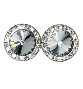 15mm Swarvoski Black Diamond Performance Earrings Clip-On