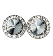 15mm Swarovski Black Diamond Performance Earrings Pierced