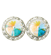 15mm Swarovski Crystal Aurora Borealis Performance Earrings Clip-On