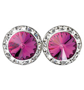 15mm Swarvoski Fuchsia Performance Earrings Clip-On