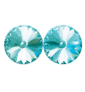 14mm Swarovski Aqua Simple Rivoli Earrings Clip-On