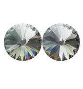 14mm Swarovski Black Diamond Simple Rivoli Earrings Pierced