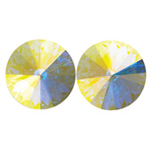 14mm Swarovski Crystal Aurora Borealis Simple Rivoli Earrings Clip-On