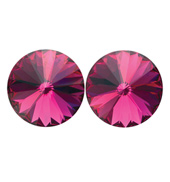 14mm Swarovski Fuchsia Simple Rivoli Earrings Clip-On