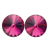 14mm Swarovski Fuchsia Simple Rivoli Earrings Pierced
