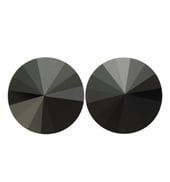 14mm Swarovski Jet Simple Rivoli Earrings Clip-On