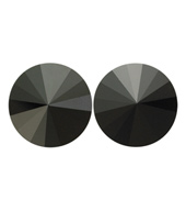 14mm Swarovski Jet Simple Rivoli Earrings Pierced