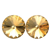 14mm Swarovski Light Colorado Topaz Simple Rivoli Earrings Clip-On